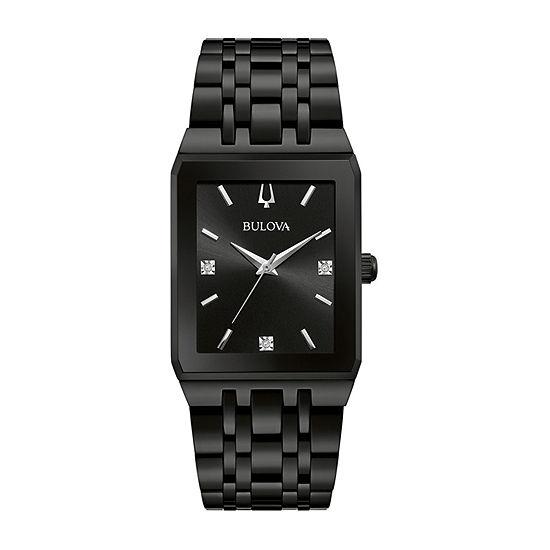 Bulova JCPenney Exclusive Mens Diamond Accent Black Stainless Steel Bracelet Watch-98d164