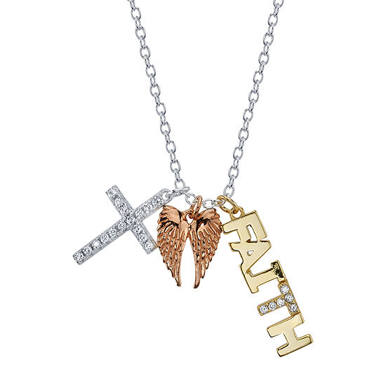 Footnotes Cubic Zirconia Sterling Silver 16 Inch Link Cross Pendant Necklace