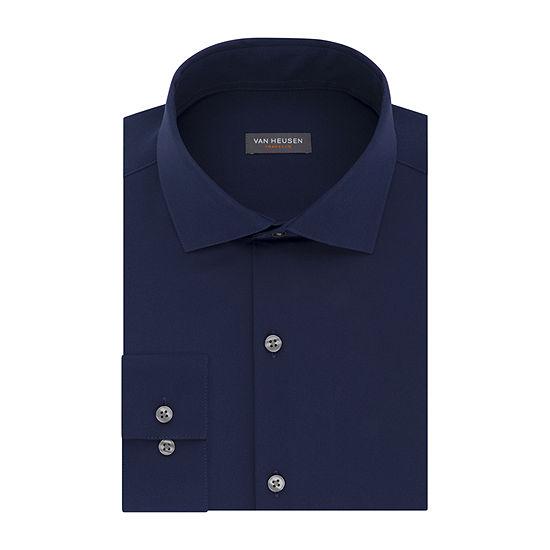 Van Heusen - Slim Mens Spread Collar Long Sleeve Wrinkle Free Stretch Dress Shirt