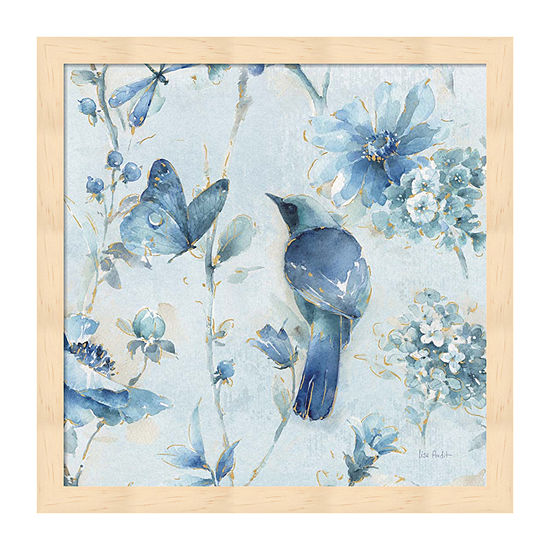 Metaverse Art Indigold Xii Light Blue Framed Floral Print