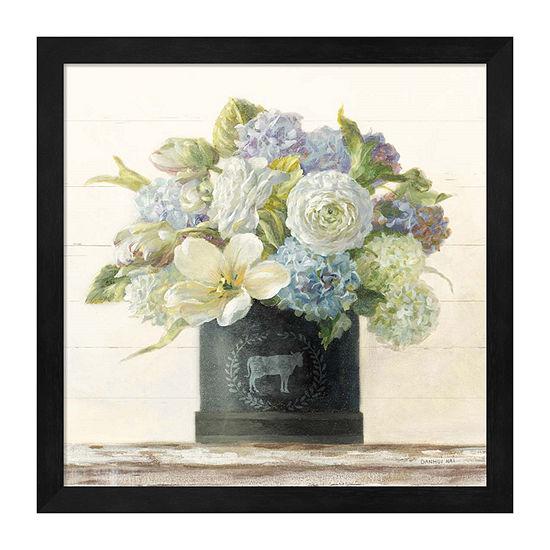 Metaverse Art Tulips In Hatbox Shiplap Framed Floral Print