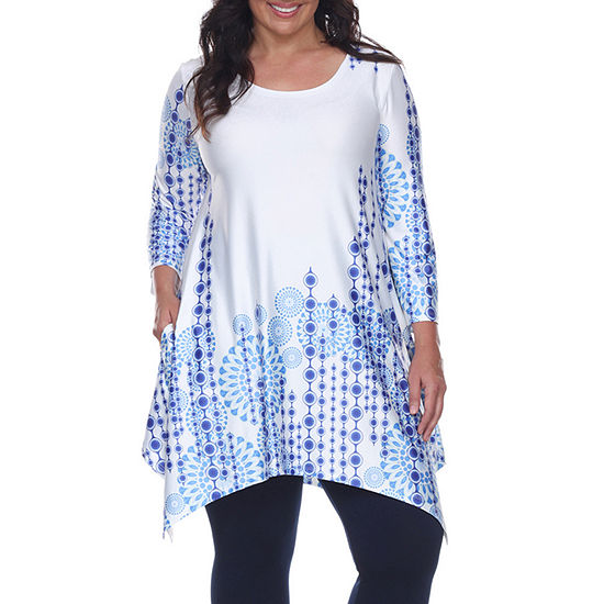 White Mark-Plus Rella Womens Scoop Neck 3/4 Sleeve Tunic Top