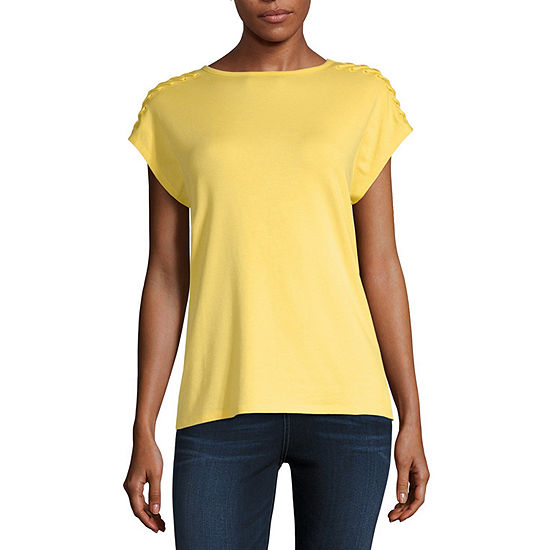 Liz Claiborne Womens Round Neck Short Sleeve Lace Up Blouse
