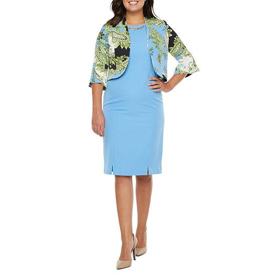 Maya Brooke 3/4 Sleeve Embellished Midi Jacket Dress