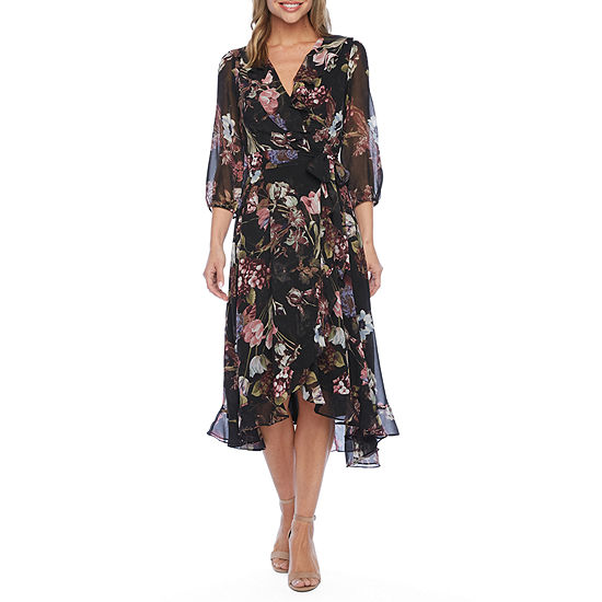 Danny & Nicole 3/4 Sleeve Floral Midi Fit & Flare Dress