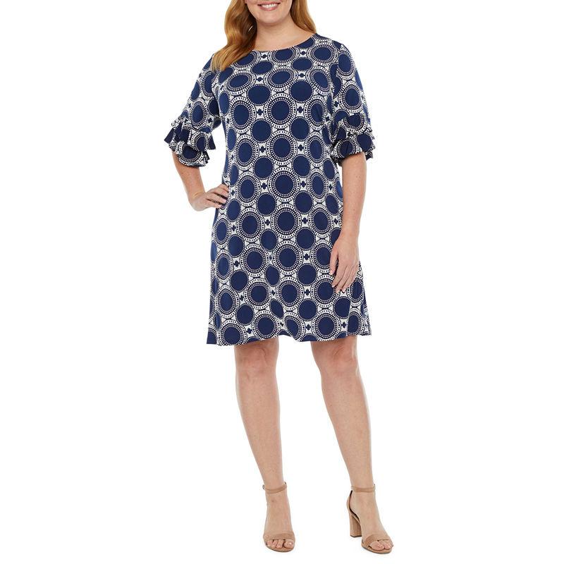60s Dresses | 1960s Dresses Mod, Mini, Hippie Ronni Nicole-Plus Short Sleeve Shift Dress $41.24 AT vintagedancer.com