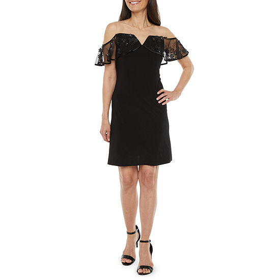 MSK-Petite Short Sleeve Cold Shoulder Applique Sheath Dress