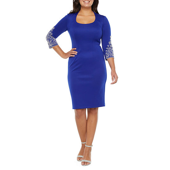 S. L. Fashions 3/4 Sleeve Beaded Sheath Dress