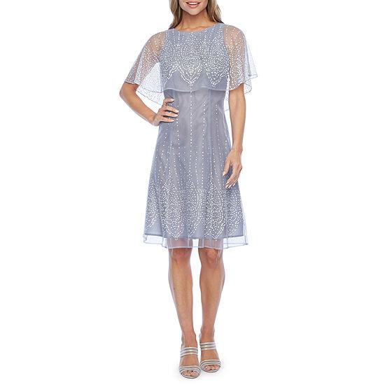J Taylor Short Sleeve Embellished Cape Fit & Flare Dress