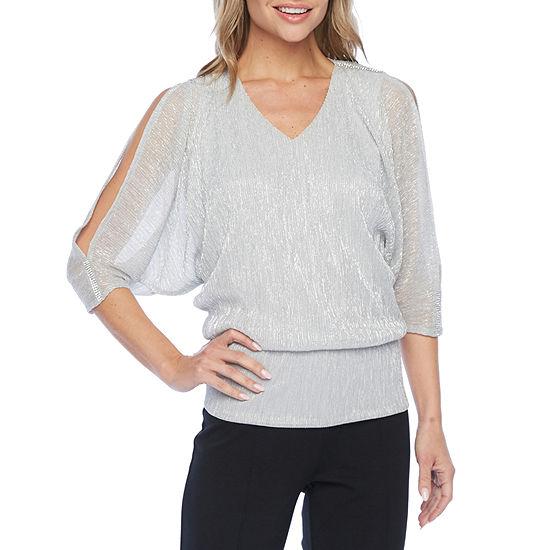 MSK Womens 3/4 Sleeve Embellished Blouse