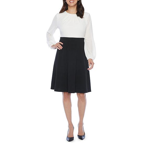 Liz Claiborne Long Sleeve Fit & Flare Dress