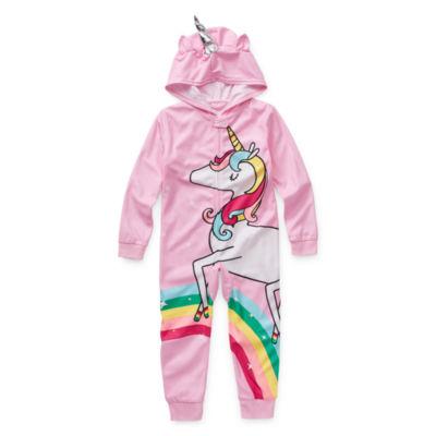 Okie Dokie Girls Fleece One Piece Pajama Long Sleeve
