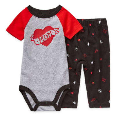 Okie Dokie Valentines Boys 2-pc. Bodysuit Set-Baby