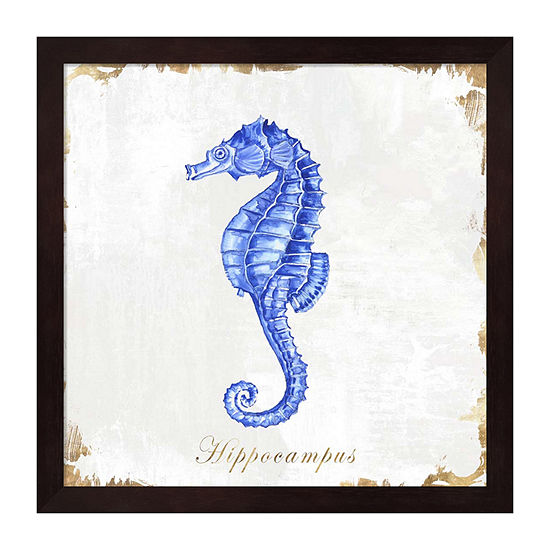 Metaverse Art Blue Sea Horse Framed Animals + Insects Print