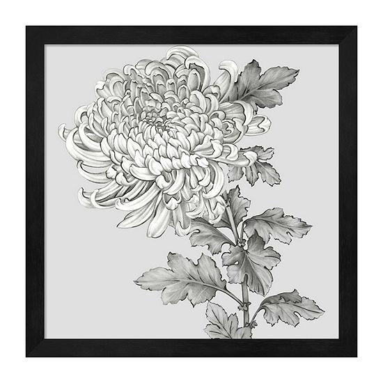 Metaverse Art Grey Botanical I Framed Floral Print