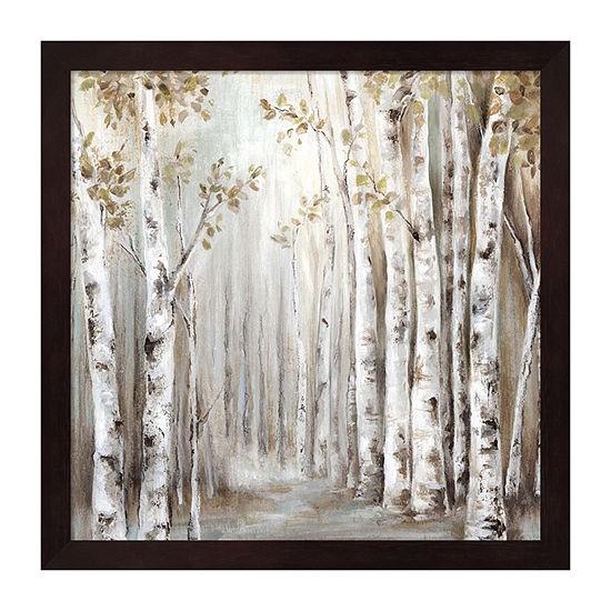 Metaverse Art Sunset Birch Forest Iii Framed Trees + Leaves Print