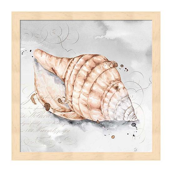 Metaverse Art Blush Shell I Framed Beach + Nautical Print