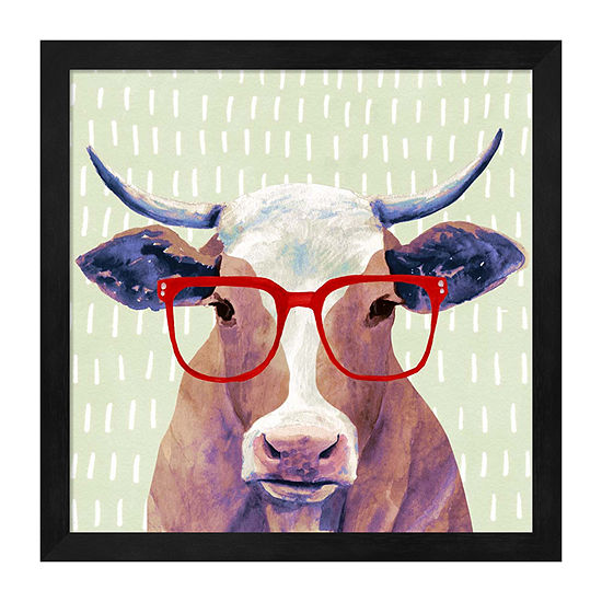 Metaverse Art Bespectacled Bovine I Framed Animals + Insects Print