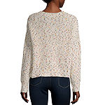 Byer California-Juniors Womens Scoop Neck Long Sleeve Confetti Pullover Sweater