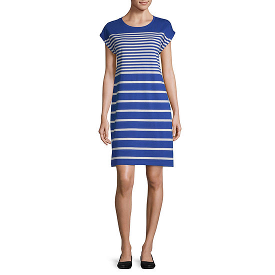Liz Claiborne Short Sleeve Striped A-Line Dress