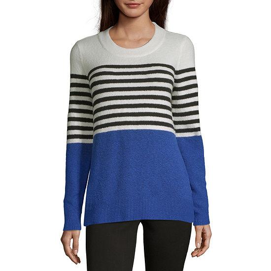 Liz Claiborne Weekend Womens Crew Neck Long Sleeve Pullover Sweater