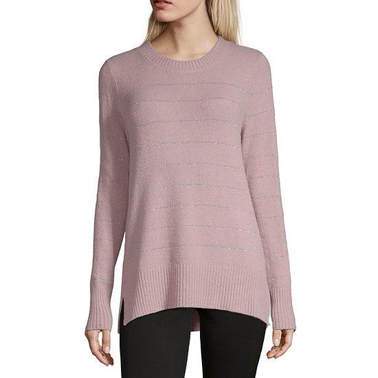 Liz Claiborne Womens Crew Neck Long Sleeve Striped Pullover Sweater