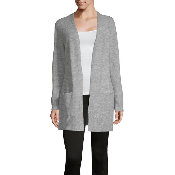 Liz Claiborne Weekend Womens Long Sleeve Open Front Cardigan