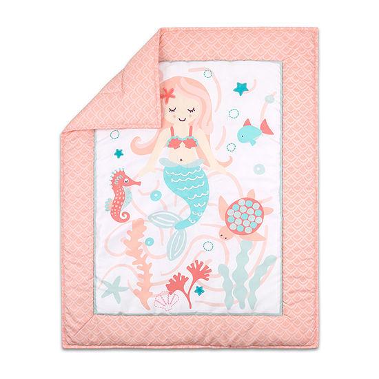 The Peanut Shell Mermaid Kisses 3-pc. Crib Bedding Set