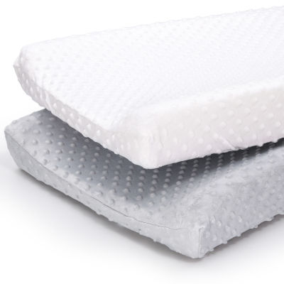 The Peanutshell Grey/White Minky Dot 2-pc. Changing Pad Cover
