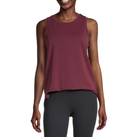 Stylus Shirttail Womens Crew Neck Sleeveless Tank Top, X-small , Red