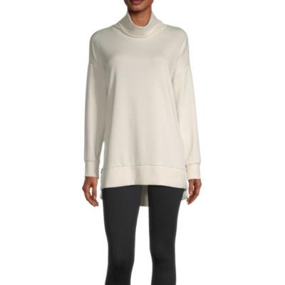 Stylus Side Zip Womens Funnel Neck Long Sleeve Tunic Top