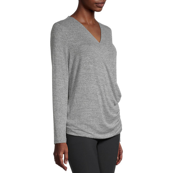 Stylus Surplice Womens V Neck Long Sleeve Wrap Shirt