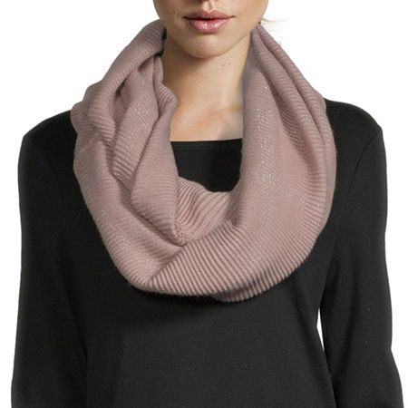 Mixit Pleated Infinity Windowpane Scarf, One Size , Pink