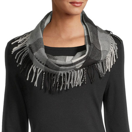 V. Fraas Checked Cold Weather Scarf, One Size , Black