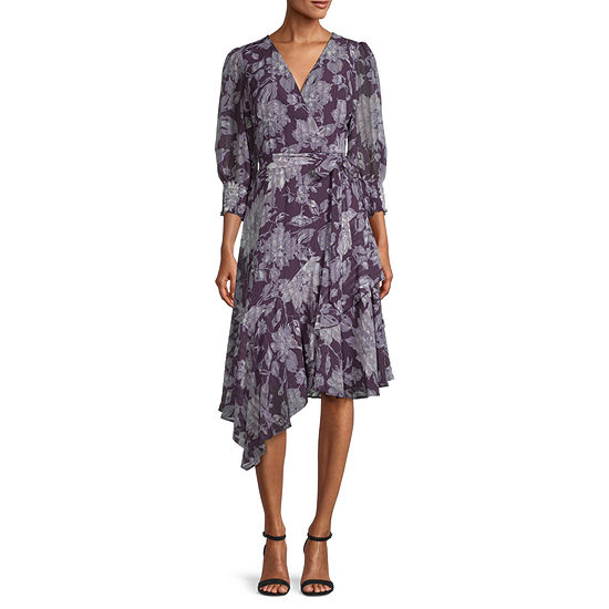 Danny & Nicole 3/4 Sleeve Floral High-Low Fit & Flare Dress