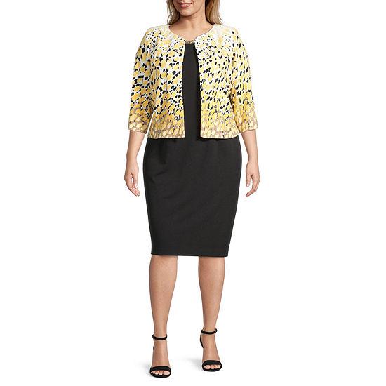 Maya Brooke-Plus 3/4 Sleeve Embellished Jacket Dress