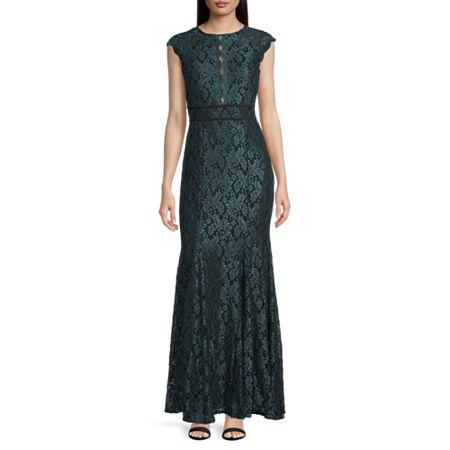 1930s Evening Dresses | Old Hollywood Silver Screen Dresses R  M Richards Short Sleeve Evening Gown 10  Green $98.00 AT vintagedancer.com