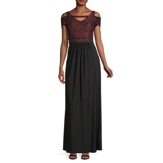 R & M Richards Short Sleeve Evening Gown
