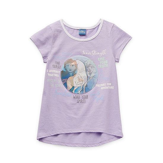 Disney Little & Big Girls Crew Neck Frozen Short Sleeve Graphic T-Shirt