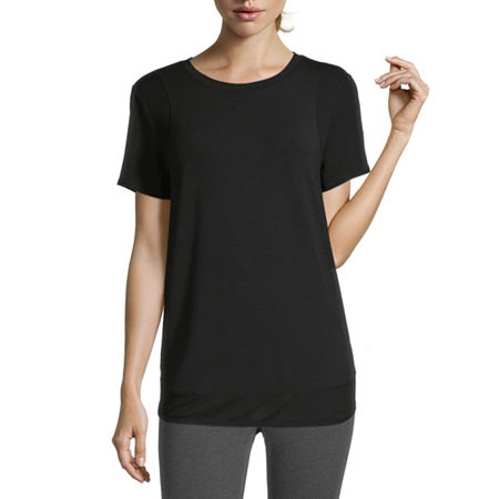 Xersion Womens Round Neck Short Sleeve T-Shirt, Small , Black