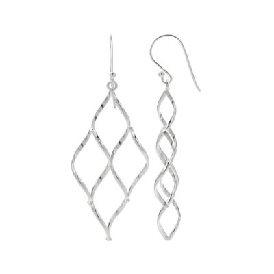 Sterling Silver Diamond-Shape Drop Earrings