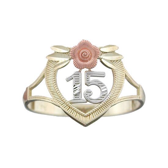 Rene Bargueiras® 14K Tri-Color Gold 15 Aňos Ring