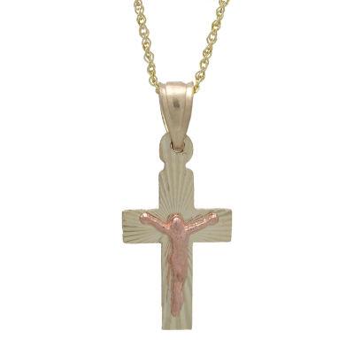 Rene Bargueiras® 14K Two-Tone Gold Crucifix Pendant Necklace