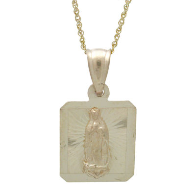 Rene Bargueiras® Square Our Lady of Guadalupe Medal Pendant Necklace