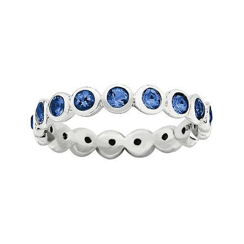 "Personally Stackable ""September"" Blue Crystal Sterling Silver Eternity Ring"