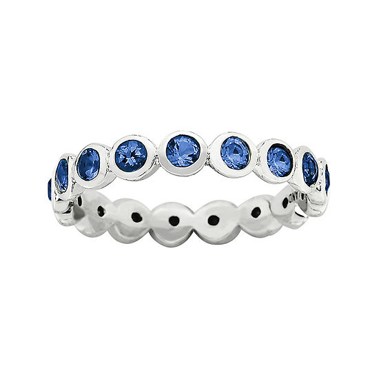 Personally Stackable September Blue Crystal Sterling Silver Eternity Ring
