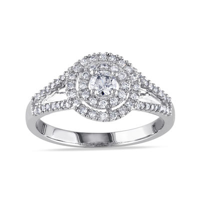 1/2 CT. T.W. Diamond 14K White Gold Double-Halo Ring