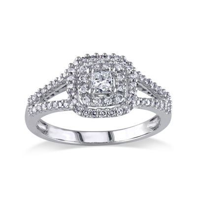 1/2 CT. T.W. Princess-Cut Center Diamond 14K White Gold Double-Frame Ring
