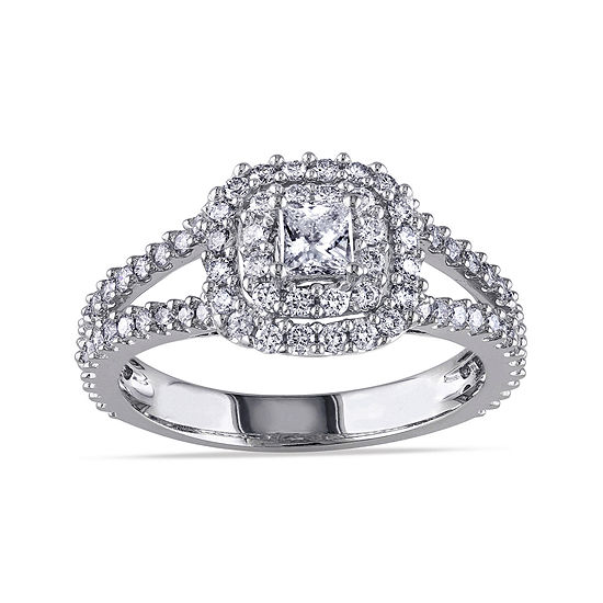1 Ct Tw Princess Cut Center Diamond 14k White Gold Double Frame Ring