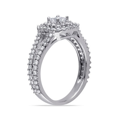 1 CT. T.W. Princess-Cut Center Diamond 14K White Gold Double-Frame Ring